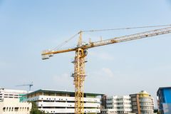 Crane in construction with blue sky Royalty Free Stock Image