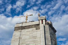 Crane. And construction for building stock photography