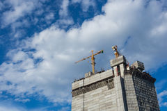 Crane. And construction for building stock photos