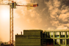 Crane in the construction of   buildings Stock Images