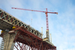 The crane on the construction of the Central section of Western high-speed diameter. Saint Petersburg Royalty Free Stock Image