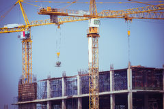 Crane construction industry background Royalty Free Stock Image