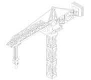 Crane construction isometric view drawing  Stock Images