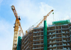 Crane on construction of a large high-rise building Royalty Free Stock Image