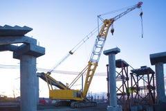 Crane on construction of new bridge Royalty Free Stock Photos