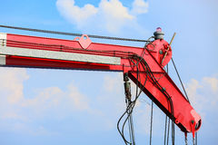 Crane construction on Oil and Rig platform for support heavy cargo, Transfer cargo or basket on work site, Heavy industry. Heavy job on the oil and gas Stock Images
