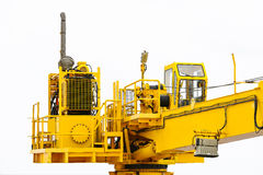 Crane construction on Oil and Rig platform for support heavy cargo, Transfer cargo or basket on work site, Heavy industry. Heavy job on the oil and gas Royalty Free Stock Images
