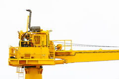 Crane construction on Oil and Rig platform for support heavy cargo, Transfer cargo or basket on work site, Heavy industry. Heavy job on the oil and gas Stock Photography
