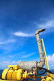 Crane construction on Oil and Rig platform for support heavy cargo, Transfer cargo or basket on work site, Heavy industry. Heavy job on the oil and gas Royalty Free Stock Photo