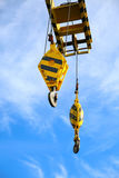 Crane construction on Oil and Rig platform for support heavy cargo, Transfer cargo or basket on work site, Heavy industry. Heavy job on the oil and gas Stock Image
