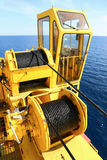 Crane construction on Oil and Rig platform for support heavy cargo, Transfer cargo or basket on work site, Heavy industry. Heavy job on the oil and gas Stock Photo