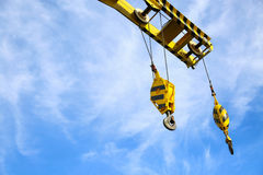 Crane construction on Oil and Rig platform for support heavy cargo, Transfer cargo or basket on work site, Heavy industry. Heavy job on the oil and gas Royalty Free Stock Photography
