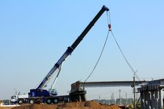 Crane on the construction of overpass Stock Photo