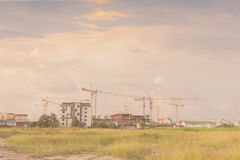 Crane and construction plant.Tower Crane in Construction,Silhoue Royalty Free Stock Photo