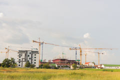 Crane and construction plant.Tower Crane in Construction,Silhoue. Tte Stock Photos
