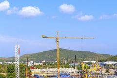 Crane on a construction site. Royalty Free Stock Photos