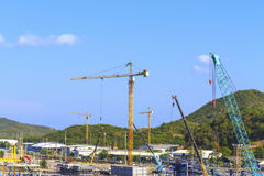 Crane on a construction site. Stock Photos