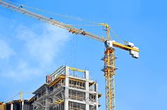 Crane and construction site Stock Photos
