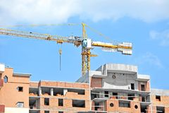 Crane and construction site Royalty Free Stock Images