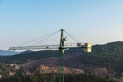 Crane in a construction site in Catalonia, Spain Royalty Free Stock Images