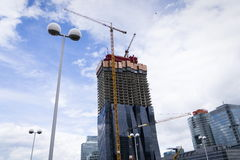Crane on construction site of the DC Towers skyscraper – tallest skyscraper in Austria on 7 May 2012 in Vienna, Austria. Stock Images
