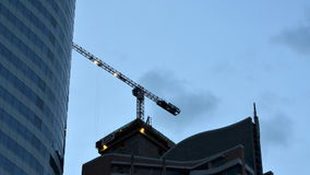 Crane in construction site, Time-Lapse stock video