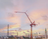 Crane on construction site in the twilight Stock Photography