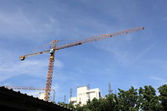 Crane at construction site Royalty Free Stock Photography