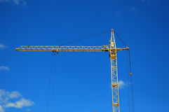 Crane Construction. Tower Crane in Construction site. Crane building high rise Stock Photo