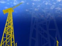 Crane constructions 3d cg. For web design, presentation, background, desktop Royalty Free Stock Image