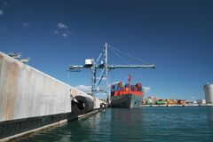 Container ship. Crane and container ship working in the port of Alicante; Spain Stock Photography