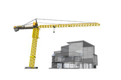 Crane and 3D building. 3D Building is under construction and tower crane on white background Royalty Free Stock Image