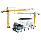 Crane and 3D building. 3D Building is under construction and tower crane on white background Stock Images