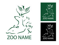 Crane Deer Zoo Logo Vector illustration Arkivbilder