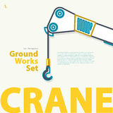 Crane, derrick, blue outlined typography set. Ground works. Construction machinery. Stock Image