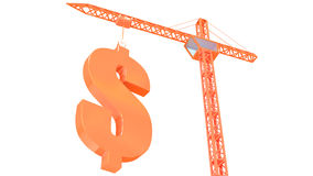 Crane with dollar Royalty Free Stock Photography