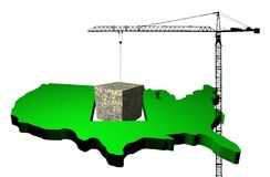 Crane with dollar cube and USA map Royalty Free Stock Photo