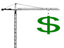 Crane with dollar sign Royalty Free Stock Photo