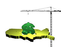 Crane with dollar and USA map Royalty Free Stock Photos