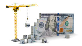 Crane with dollars Royalty Free Stock Photo
