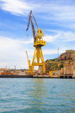 Crane in dry dock at Valletta harbour, Malta Stock Photography