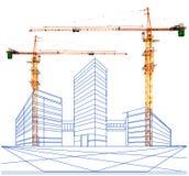 Crane e uma perspectiva de dois pontos da construção na construção Foto de Stock