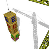 Crane Education. Crane placing building blocks vertically to represent a learning process Stock Images