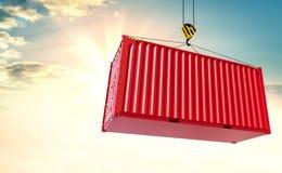 Crane el contenedor del gancho y para mercancías en fondo del cielo Imagen de archivo
