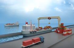 Crane el contenedor para mercancías de elevación y cargar la nave Stock de ilustración