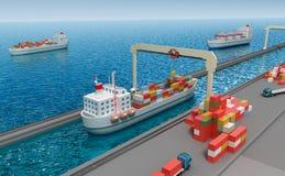 Crane el contenedor para mercancías de elevación y cargar la nave Fotos de archivo libres de regalías