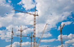 The crane elevating Royalty Free Stock Photo