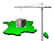Crane with euro cube France map Royalty Free Stock Photography