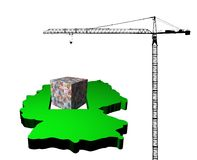 Crane with euro cube and Germany map Stock Images
