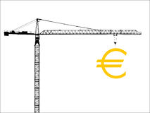 Crane with euro sign Royalty Free Stock Images